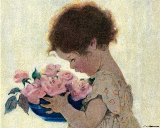Little Girl with Roses