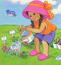 Little Girl Gardening